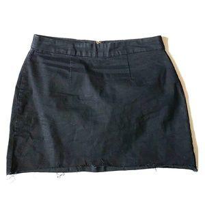 F21 Black Frayed Denim Mini Skirt